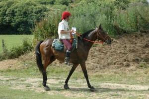 l'auteure à cheval, cherchant son chemin à l'aide d'une carte