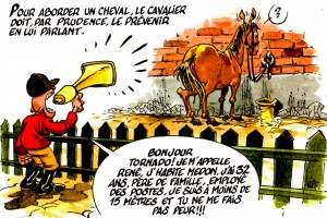 "Illustration de ""comment aborder un cheval"", par Riff"