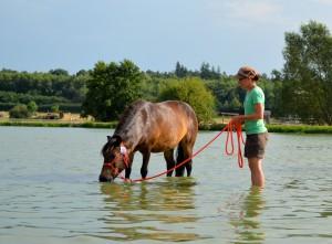 natalia et son poney, les pieds dans l'eau
